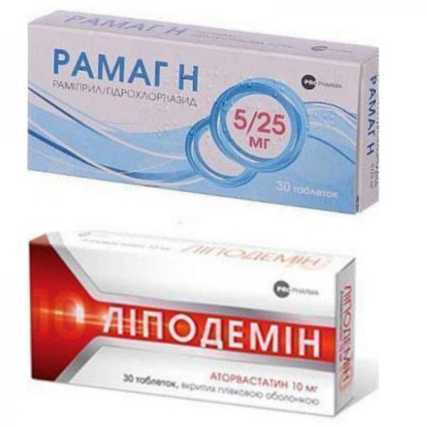 Липодемин 10мг №30  таблетки + Рамаг 10мг №30 таблетки