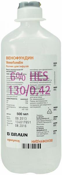 Венофундин 6% 500 мл №10 раствор для инфузий
