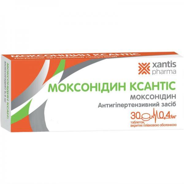 Моксонидин ксантис 0,4 мг №30 таблетки