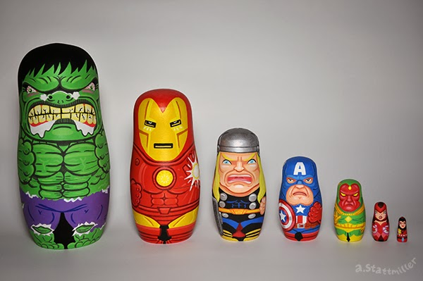 Mavel Comics Avengers Nesting Dolls.  Hand Painted by Andy Stattmiller.