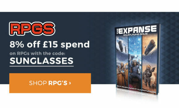 SUNGLASSES for 8% off  £15 of RPGs.