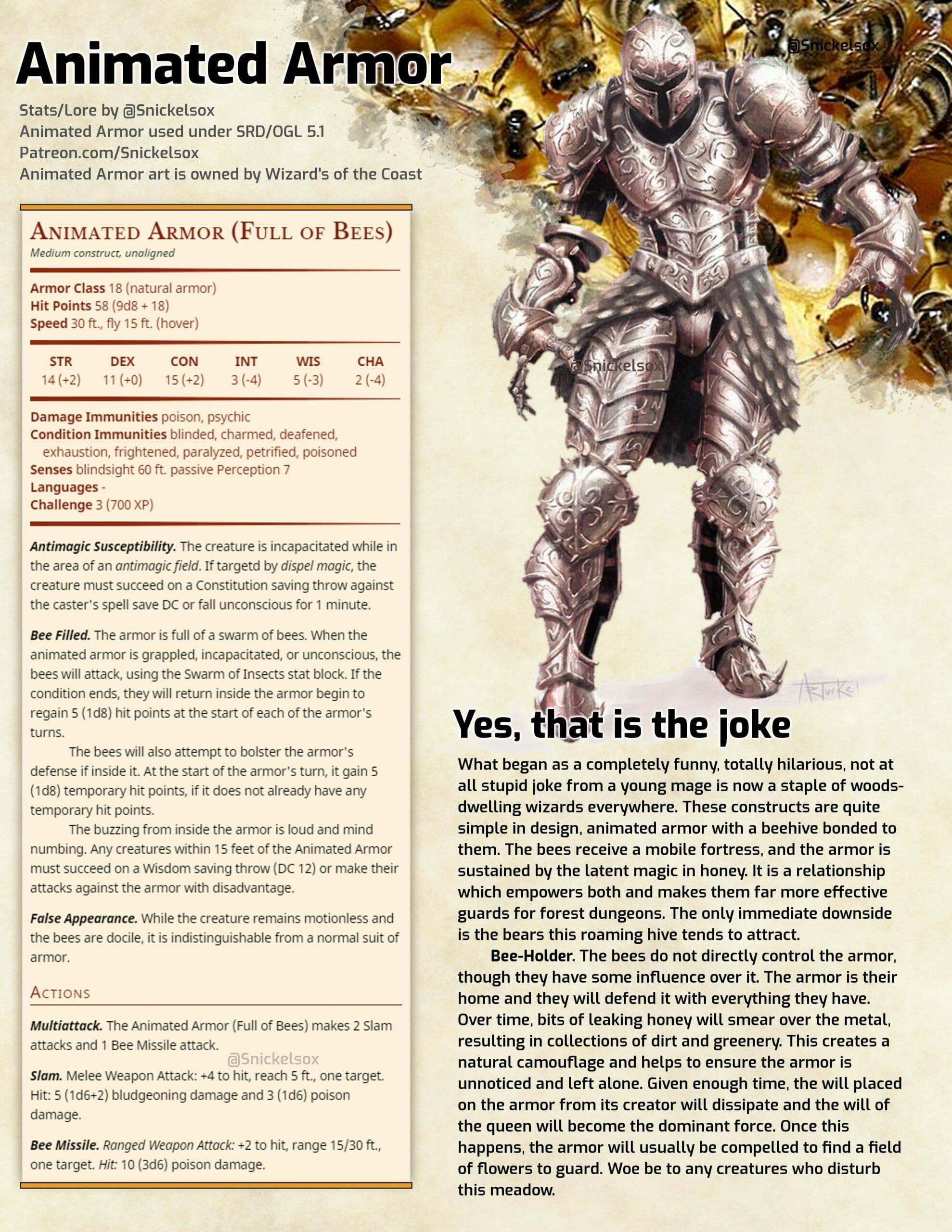 Animated bee armour
