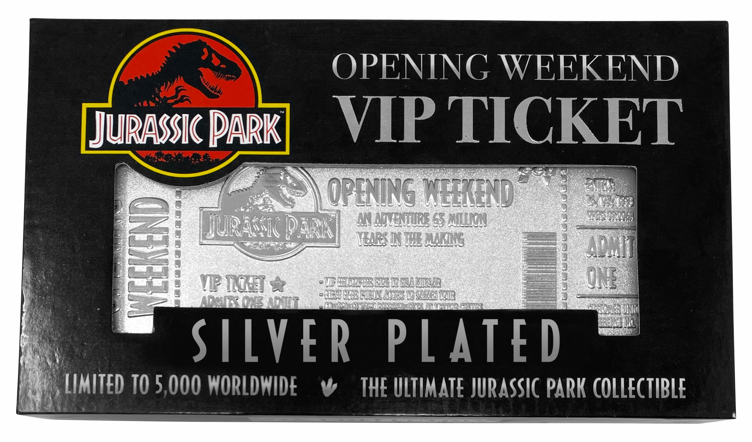 Jurassic Park Silver Plated Ticket
