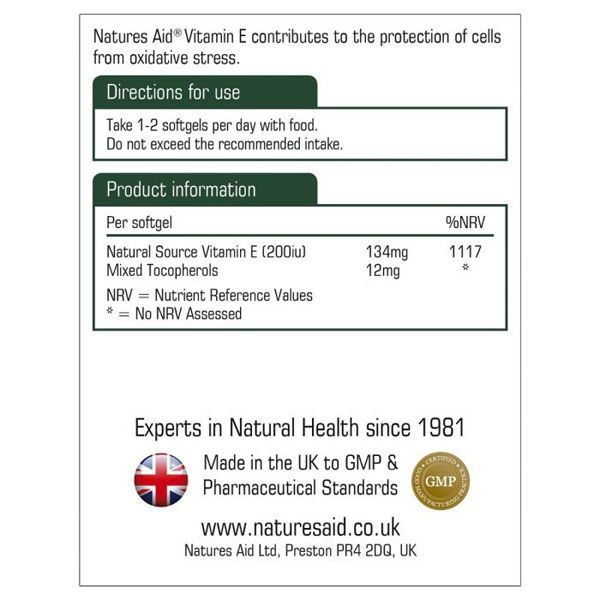 Natures Aid Vitamin E 200IU – (60) softgel capsules