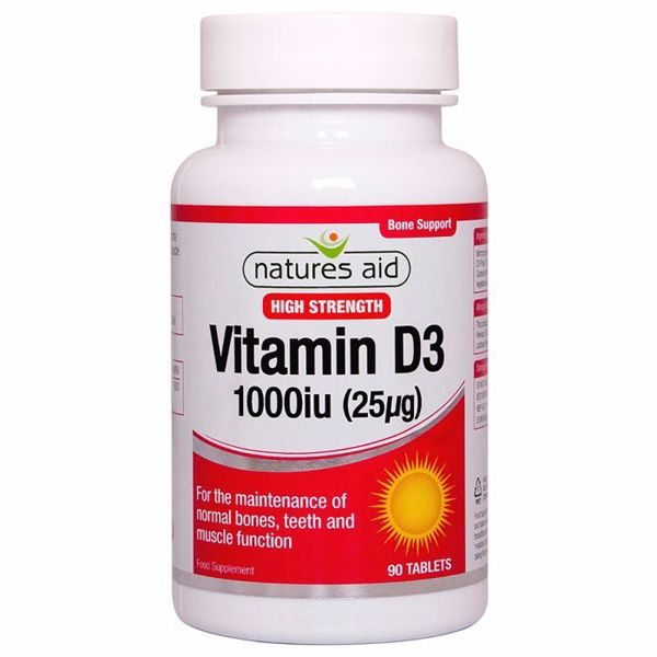 Natures Aid Vitamin D3 1000IU – (90) Tablets