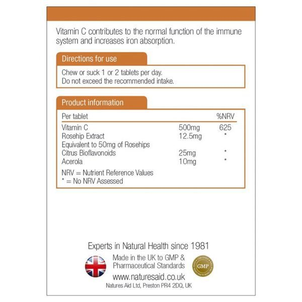 Natures Aid Vit C 500mg Chewable Sugar Free – (50) Chewable Tablets