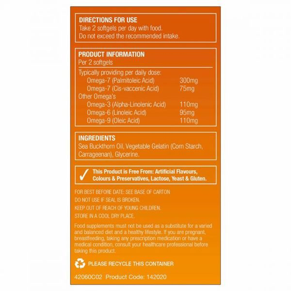 Natures Aid Sea Buckthorn Oil 500mg Softgels (60)