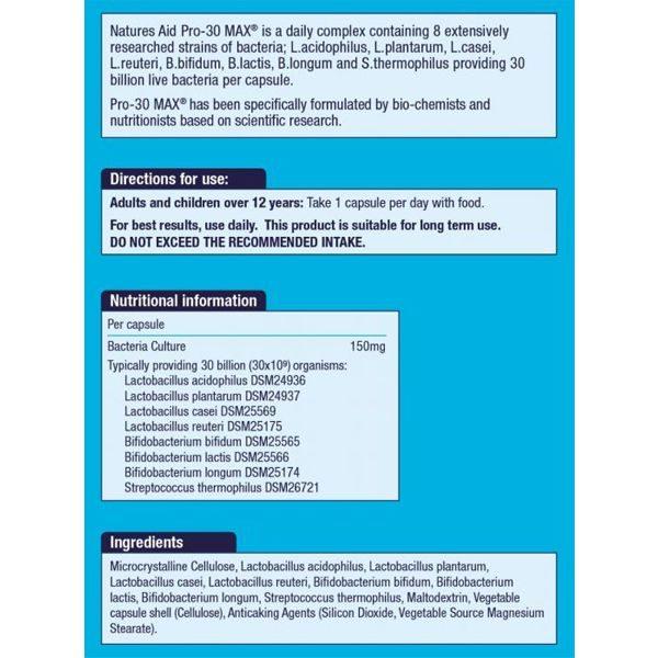 Natures Aid Pro-30 Max (30 Billion Bacteria) Capsules (60)