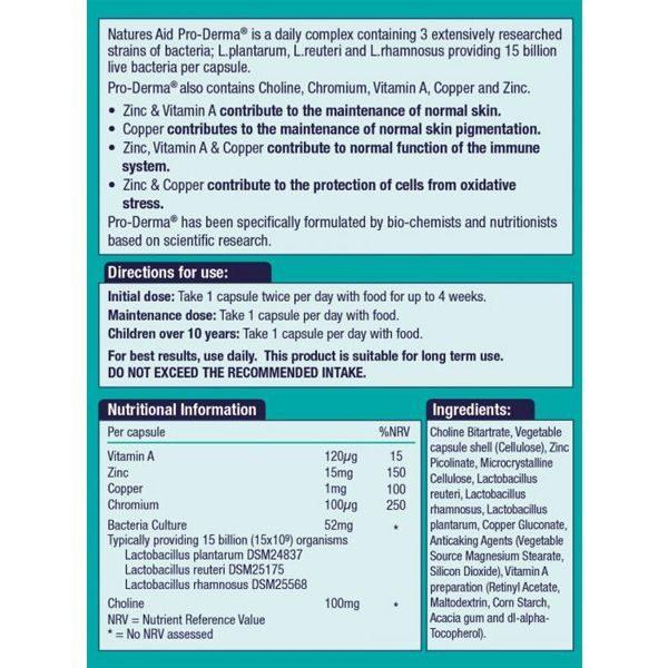 Natures Aid Pro Derma (15 Billion Bacteria) – (60) Capsules