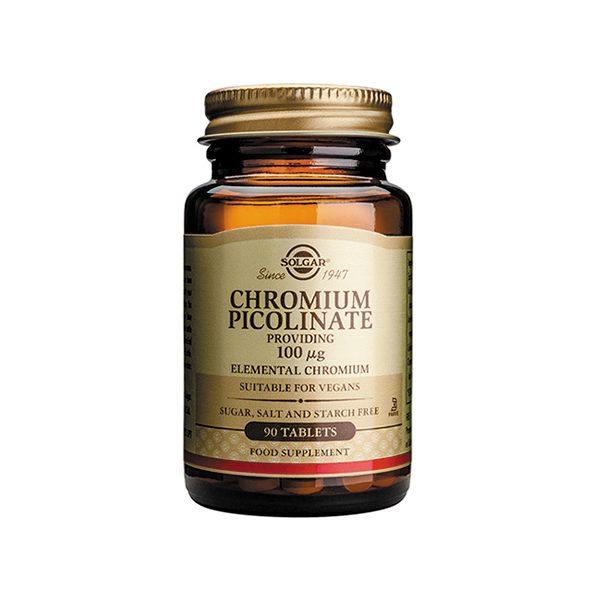 Solgar Chromium Picolinate 100 ug Tabs – (90) Tablets