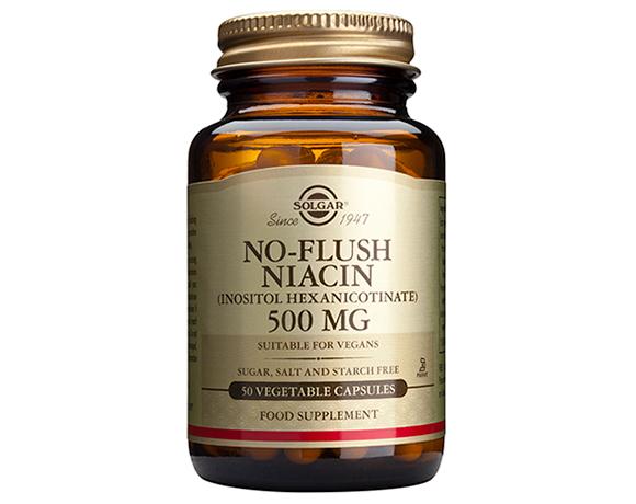 Solgar No-Flush Niacin (Inositol Hexanicotinate) 500mg Capsules (50)