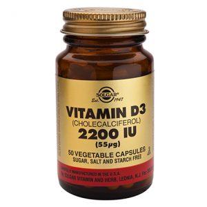 Solgar Vitamin D3 (Cholecalciferol) 2200 IU (55 ug) – (50) Vegetarian Capsules