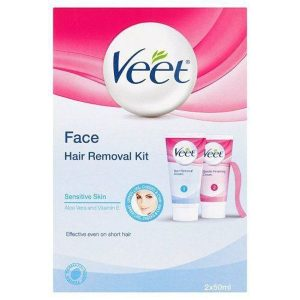 Veet Facial Hair Removal Kit for Sensitive Skin – 2 x 55ml