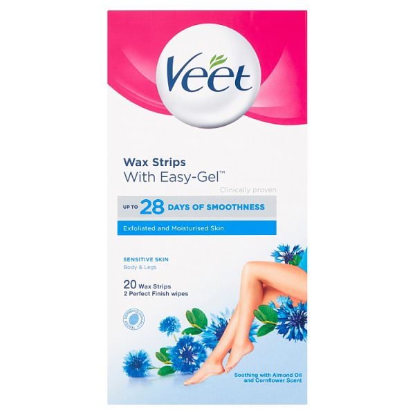 Veet Wax Strips Ready to Use for Sensitive Skin – 20 Pack