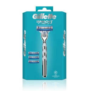Gillette Mach 3 Turbo Razor for Men and 4 Refill Blades