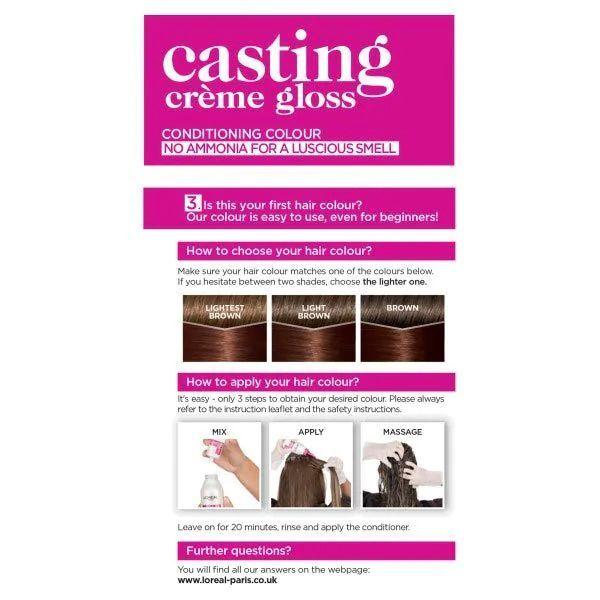 L'Oreal Casting Creme Semi Permanent Hair Dye Gloss 535 Chocolate