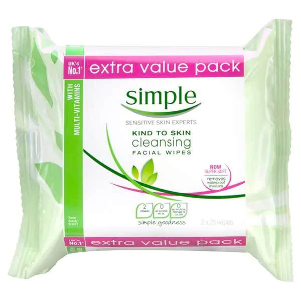Simple Kind To Skin Cleansing Facial Wipes (Twin Pack)