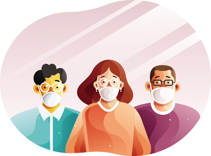 people wearing face masks illustration - pharmhealth