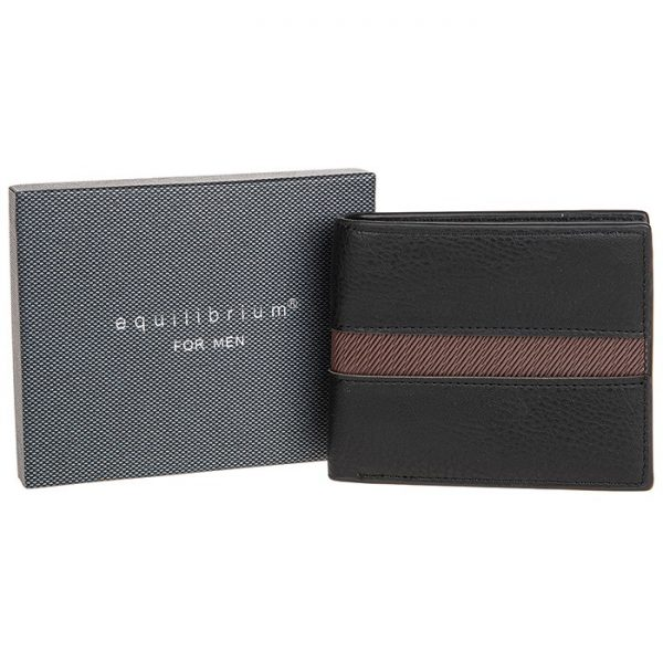 Mens Centre Stripe RFID Black Wallet