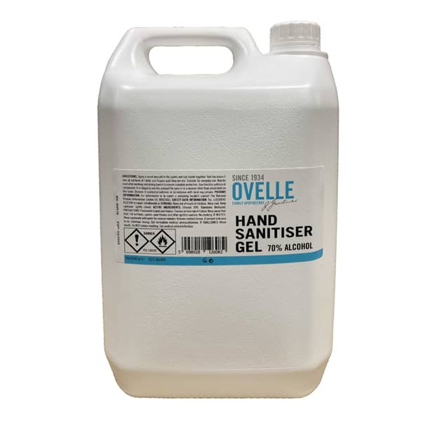 Ovelle Hand Sanitiser Hand Gel 70% Alcohol (5Ltr)