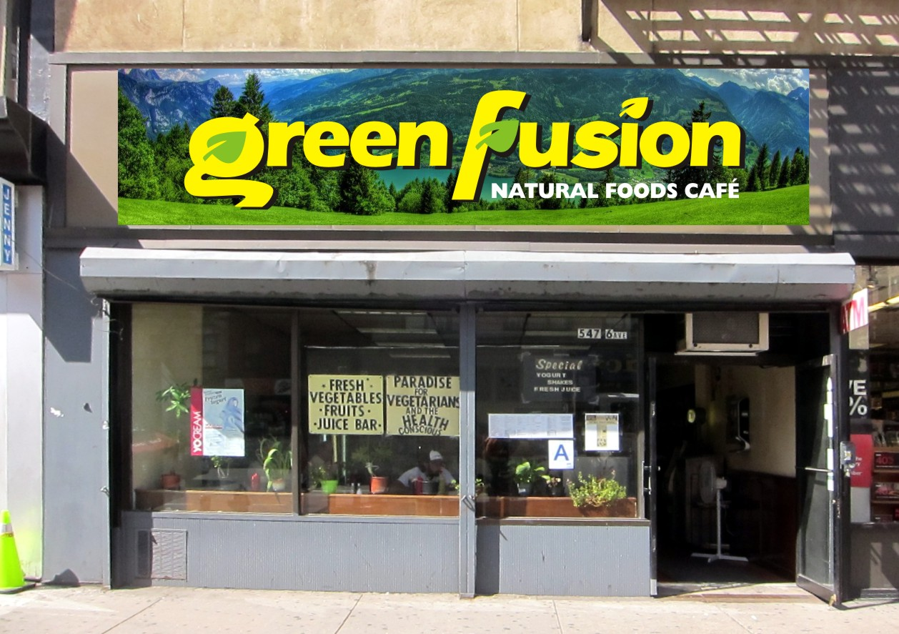 Green Fusion restaurant branding and signage