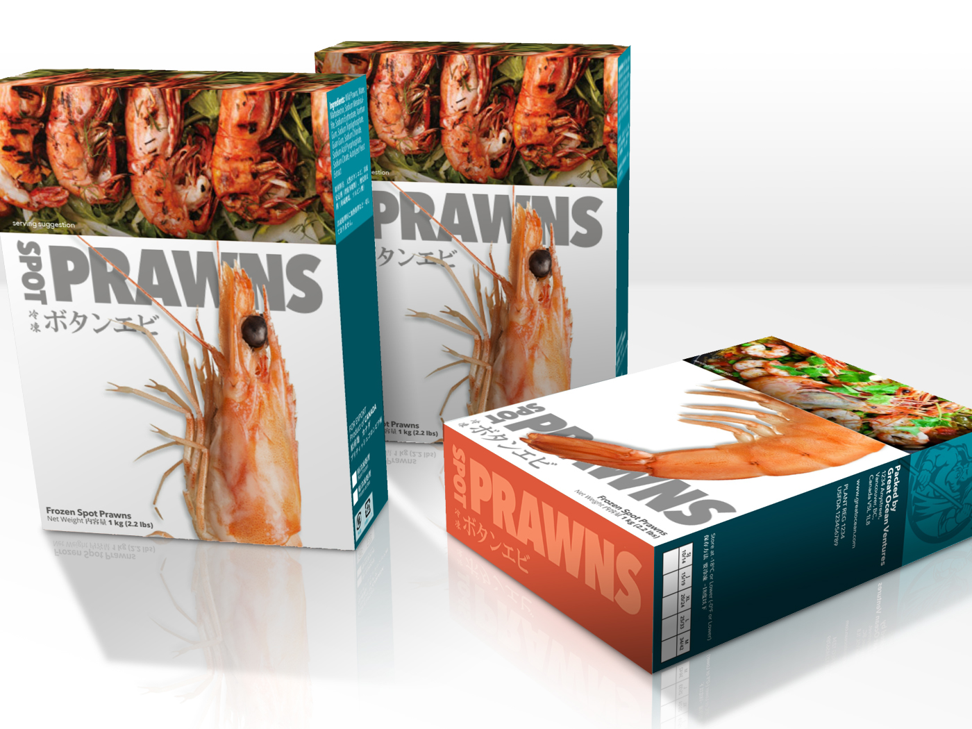 Packaging concept for frozen Spot Prawns