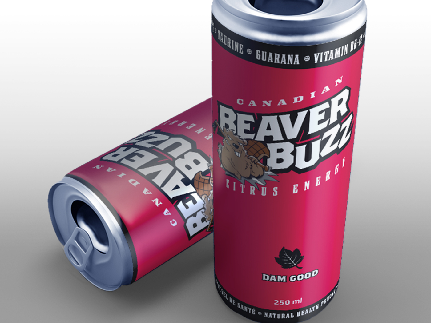 Beaver Buzz Energy Drink. Branding and Packaging.