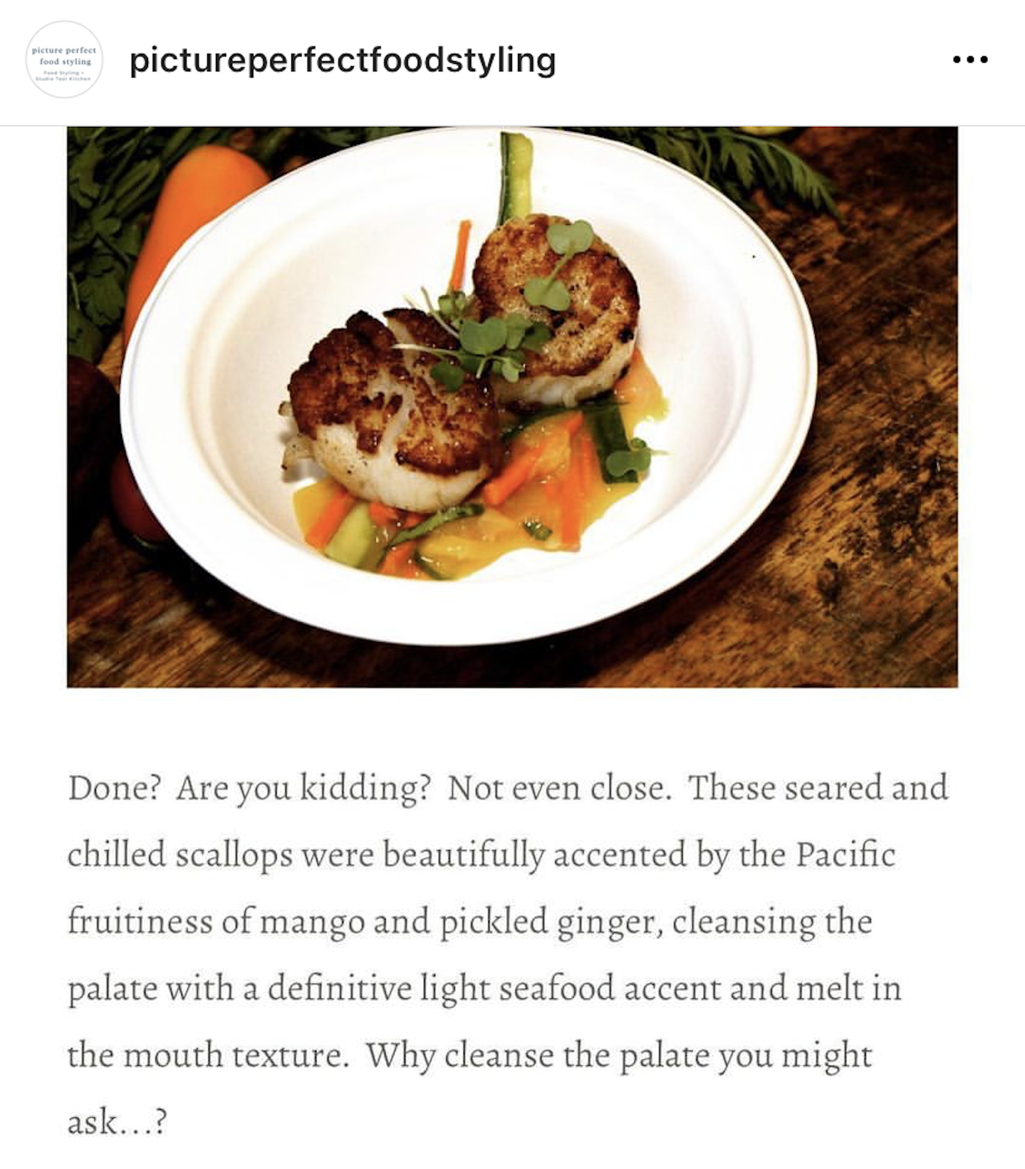 Seared Sea Scallops with Mango and Pickled Ginger Slaw