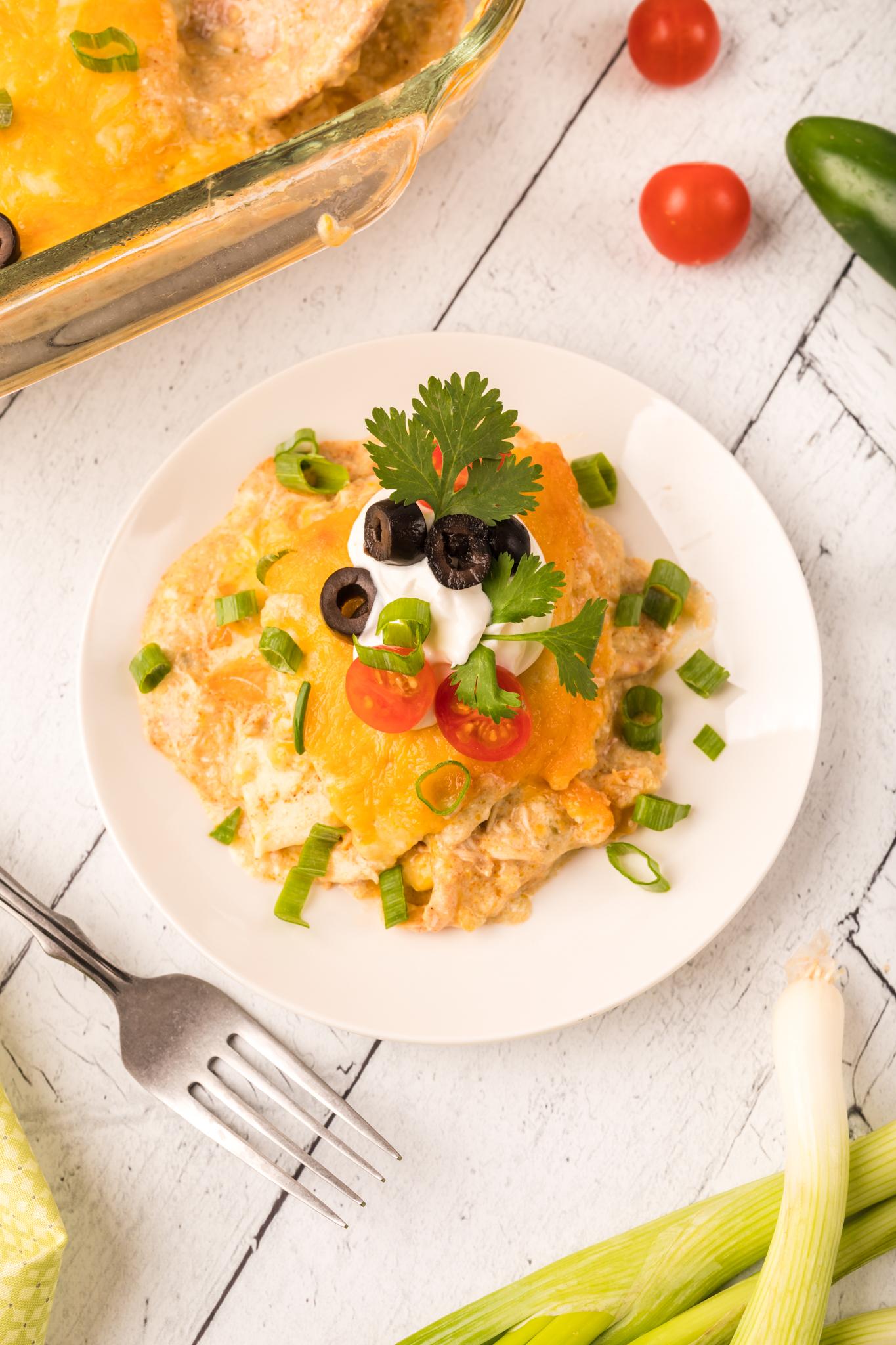 Salsa Verde Chicken Enchilada Bake