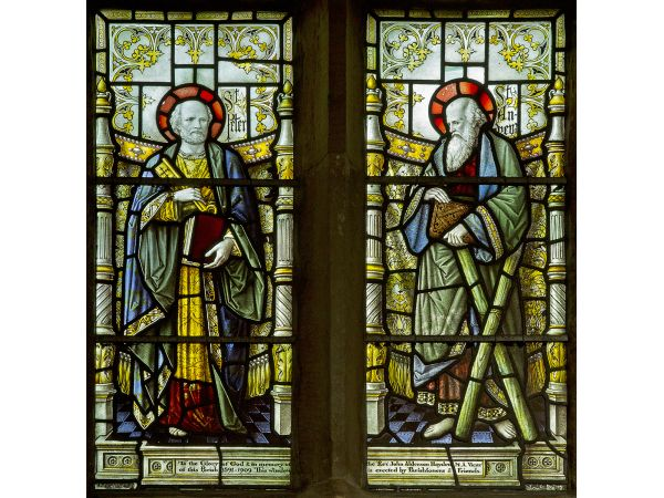 Stained glass window in St Andrews church, Dent