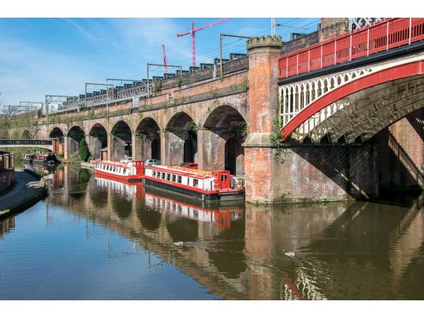 The old viaduct and boats, Castlefield