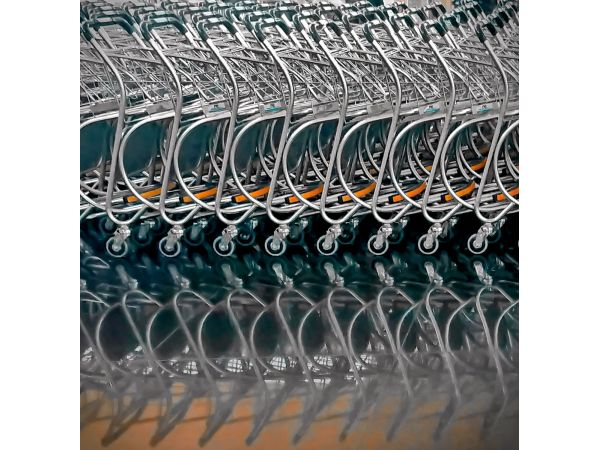 Airport trolley reflections