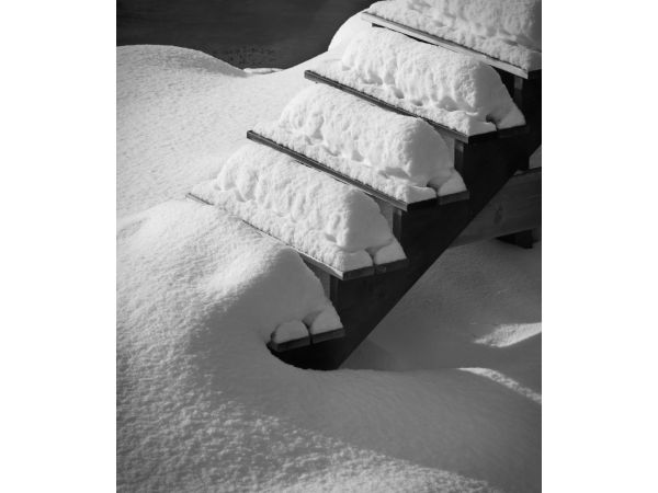 Steps in the snow