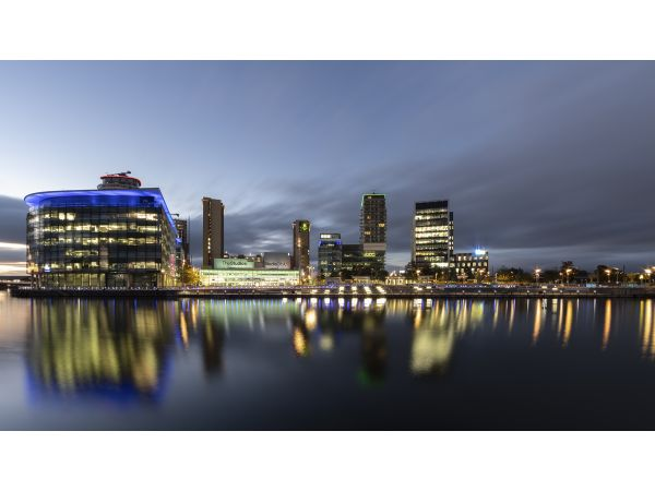 Night view of Salford Quays