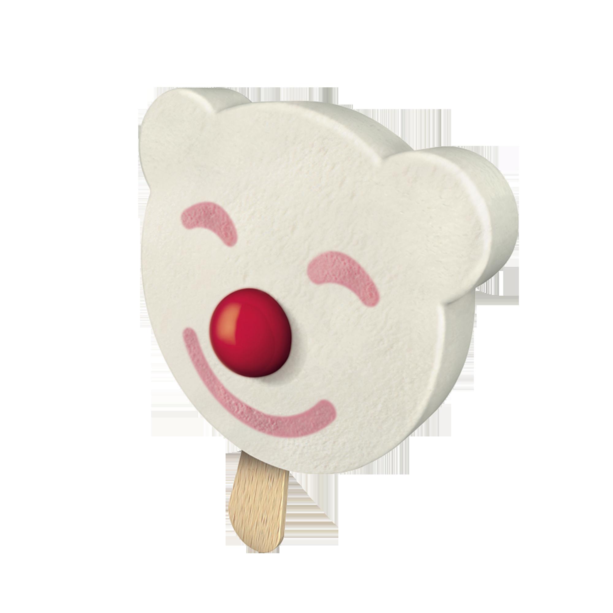 Føteis på pinne i form av en smilende isbjørn med tyggiskulenese