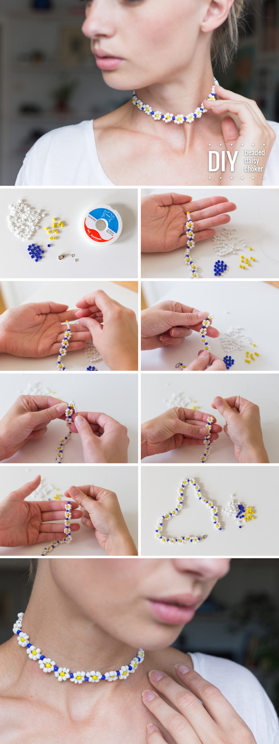 DIY Beaded daisy choker by Dnilva