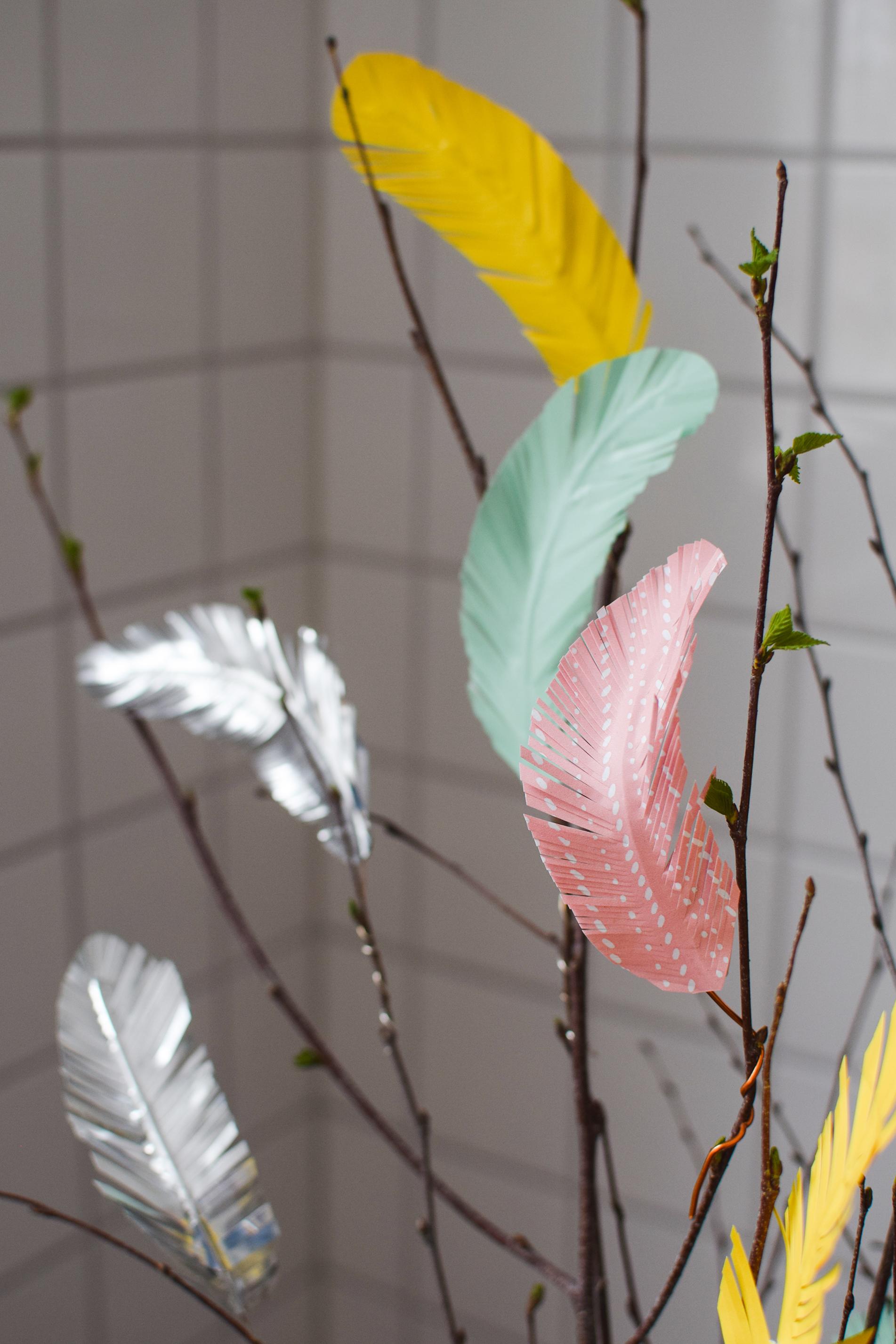 Påskfjädrar - fjädrar av papper