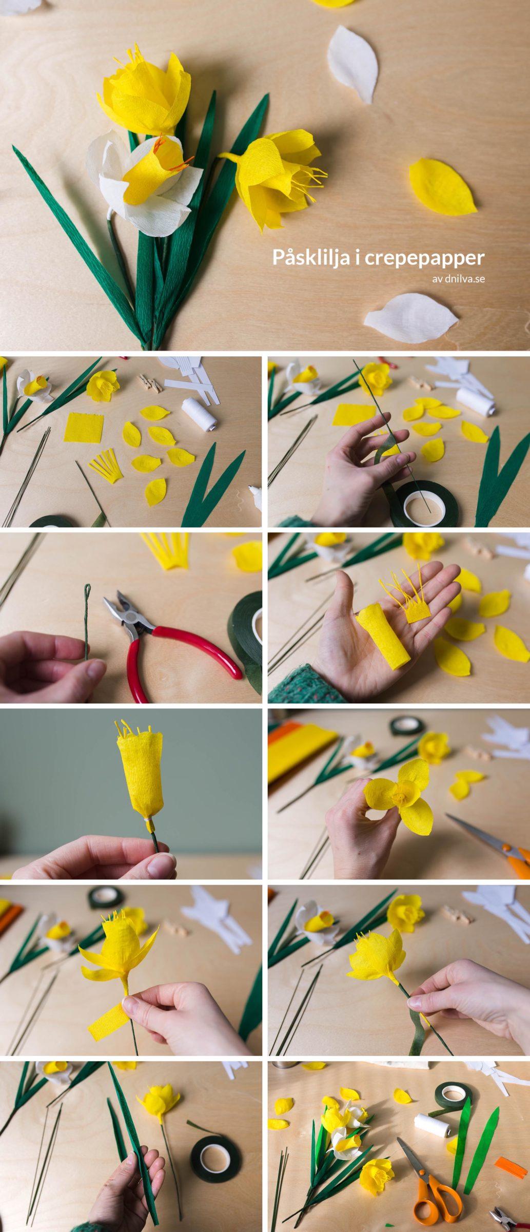 Steg för steg beskrivning- Påsklilja i crepepapper