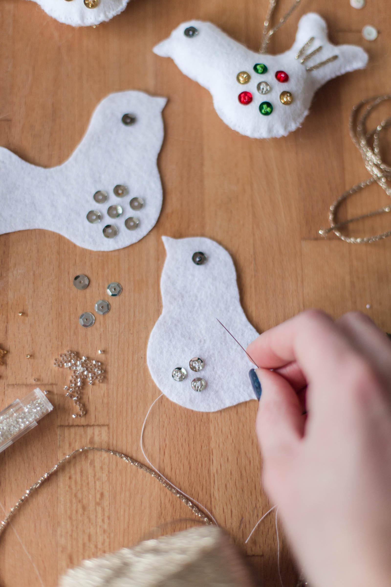 DIY - Felt birds Christmas decoration