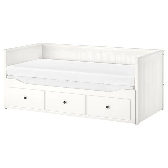 vit säng med förvaring, hemnes från ikea