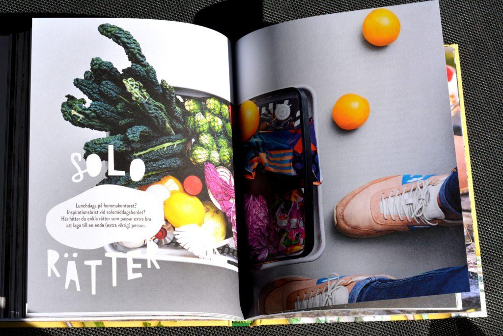 Uppslaget Solorätter ur vegetariska kokboken Kaosvego av Sara Ask och Lisa Bjärbo.