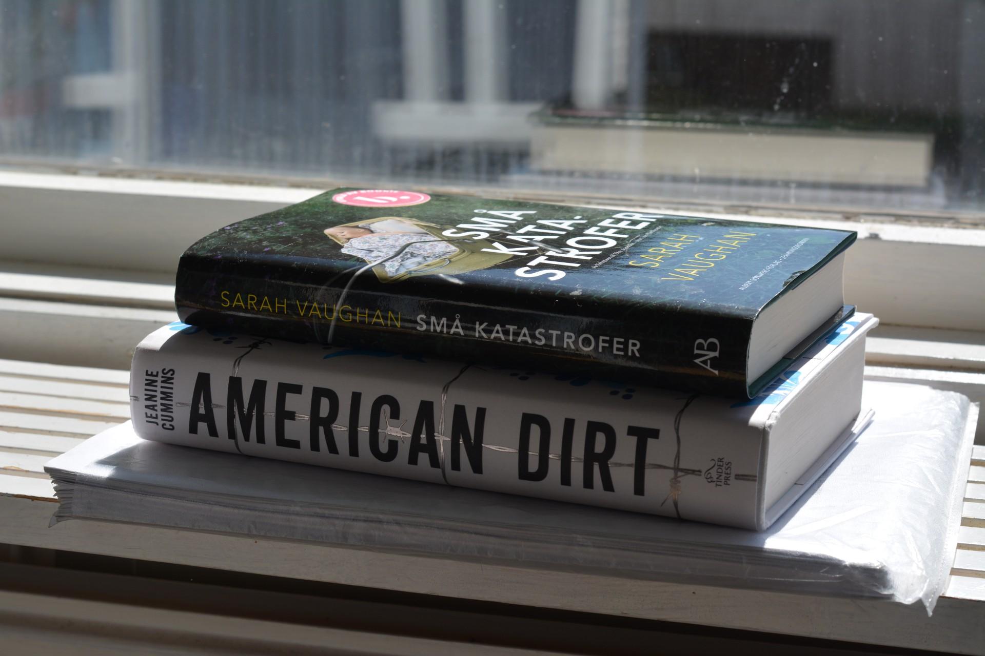 Små katastrofer av Sarah Vaughan och American dirt av Jeanine Cummins och råmanus till Drömma vaken av Ulrika Nettelblad. I ett fönster i solljus, lite motljus.