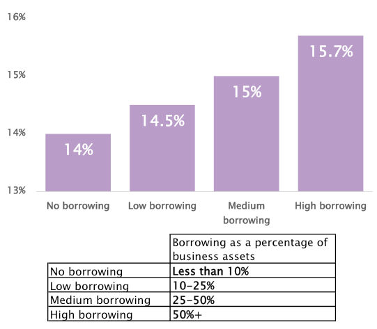 SME borrowing as a percentage of business assets