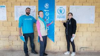 Cem Solakoglu (Logistics Cluster), Henrietta Fore (UNICEF) and Silan Reyhanogullari (Logistics Cluster) at the Logistics Cluster hub in Reyhanli