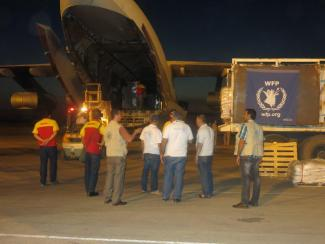 Airlift to Syria - loading cargo on plane at night