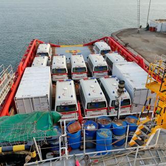 Ambulances loaded onto VOS Apollo