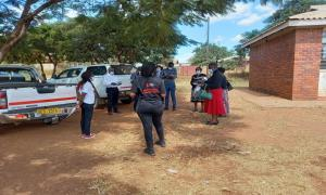 Piloting the government emergency warehouse assessment in Mashonaland West Province, assessment at Mbuya Dorcas community hall by members of the Chinhoyi Civil Protection Unit