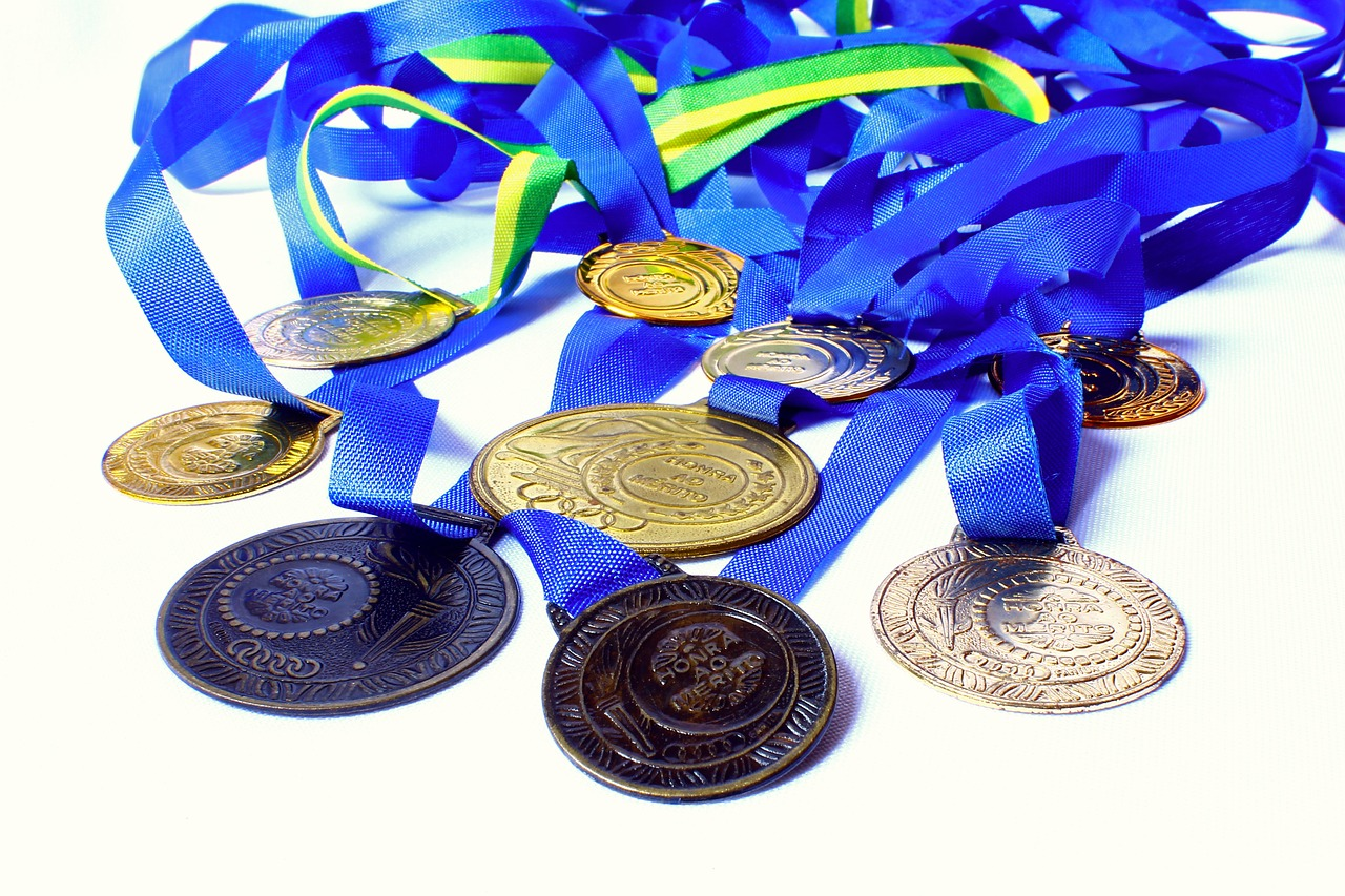 Medals laying on top of each other