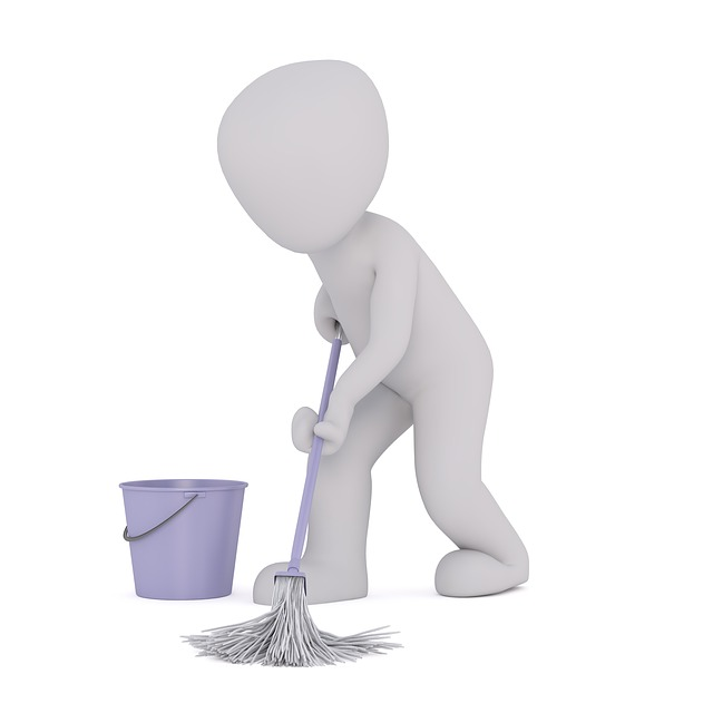 person with mop
