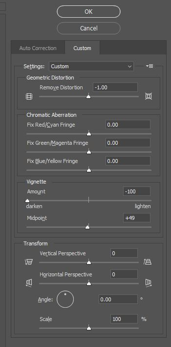 Image Properties Lens Correction tool - select custom tab